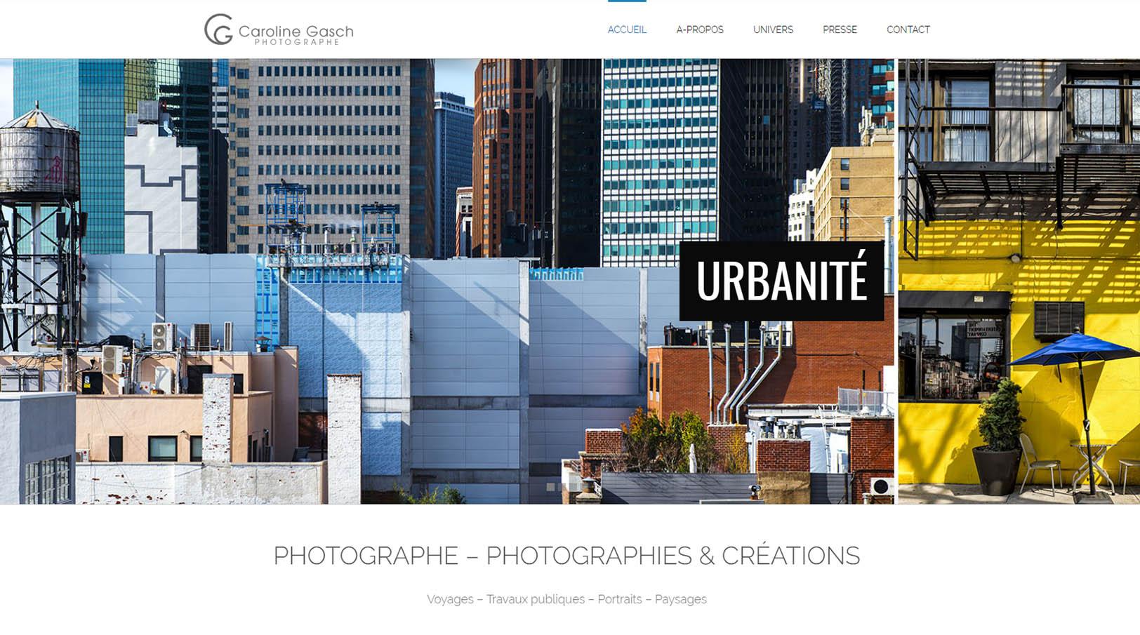 Page d'accueil site internet Caroline Gasch - Photographe professionnelle